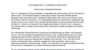 Statement By US Embassy Freetown Sierra Leone