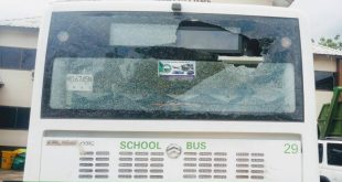 Makeni City Council Public Notice On Damaged School Bus Back Glass